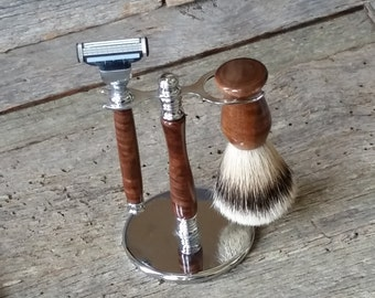 Father's Day Gift, Grooming Kit, Wood Turned Razor & Stand Gift Set  For Men, Custom Gifts