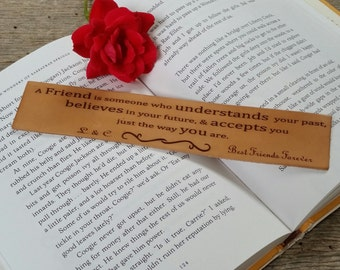 Custom Engraved Leather Bookmark, Personalized Gift