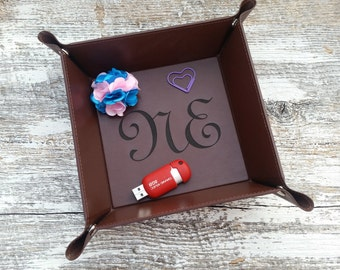 Personalized Leather Dish, Back To School Gift Her,  Watch, Jewelry Dish, Gift Wrapped