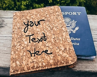 Custom Engraved Cork Passport Cover, Personalized Gift for Military Spouse