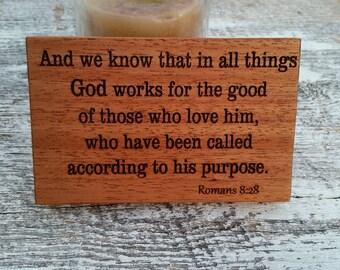 Romans 8:28 Bible Verse Wood Engraved Plaque, Inspirational Home Decor, Desk Standing Plaque