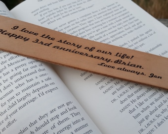 3rd Wedding Anniversary, Custom Engraved Leather Bookmark, Gift Boxed