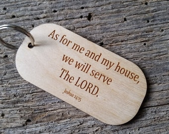 Bible Verse Key Chain, Joshua 24:15,  Police Officer Gift, Engraved Wood Key Chain