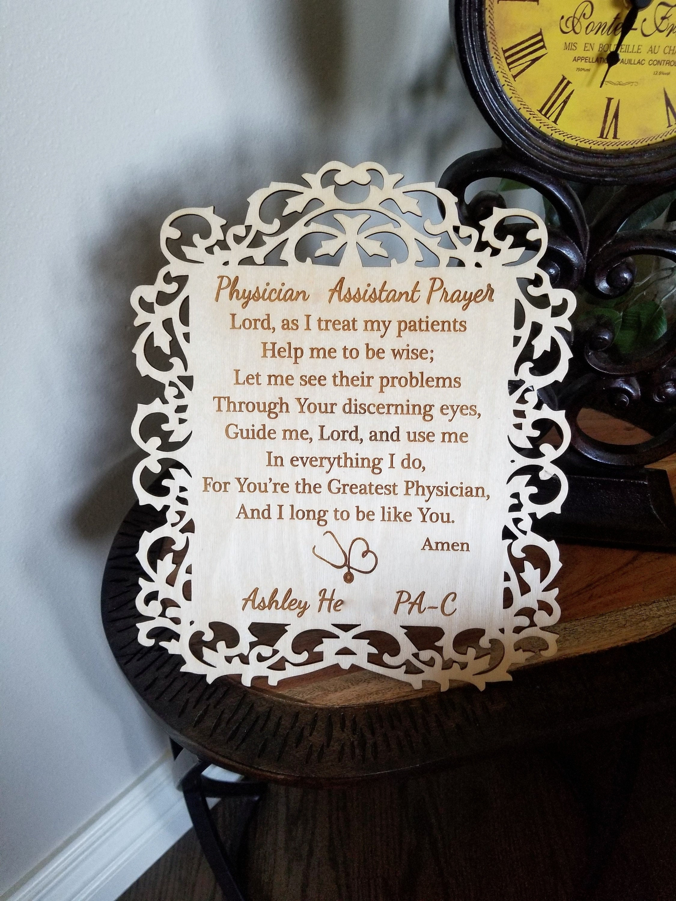 Custom My Design Assistant physician assistant prayer plaque, graduation gift, custom