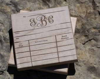 Personalized Gift For Librarian, Library Date Due Card Engraved Wood Coasters, Birthday Gift