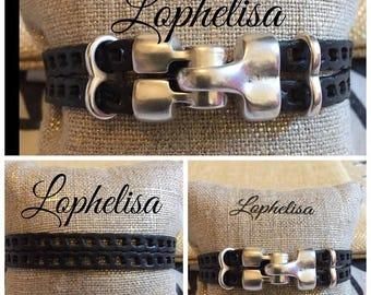 black leather zamak clasp bracelet