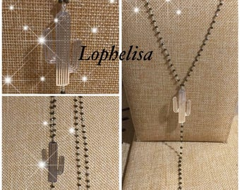 Gray and silver pendant beaded chain necklace silver cactus, feather Jewelry-Silver designer lophelisa