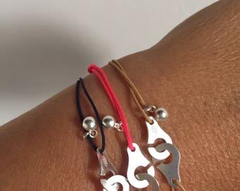 925 sterling silver handcuffs cord bracelet