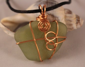 Wire wrapped lime green sea glass pendant with satin sliding knot cord (Reversible)