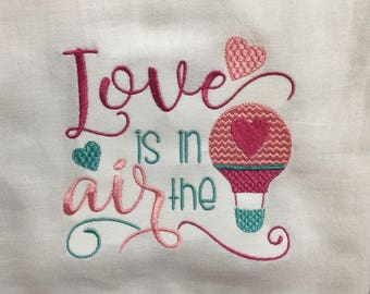 Love is in the air embroidered flour sack towel