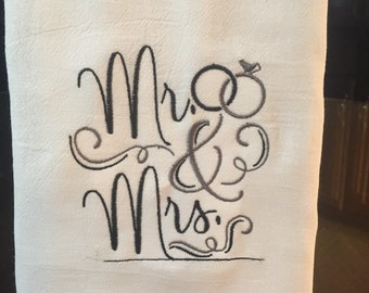 Mr. And Mrs. wedding/anniversary embroidered flour sack towel