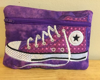 Embroidered zipper pouch with appliqué high top shoe purple and pink