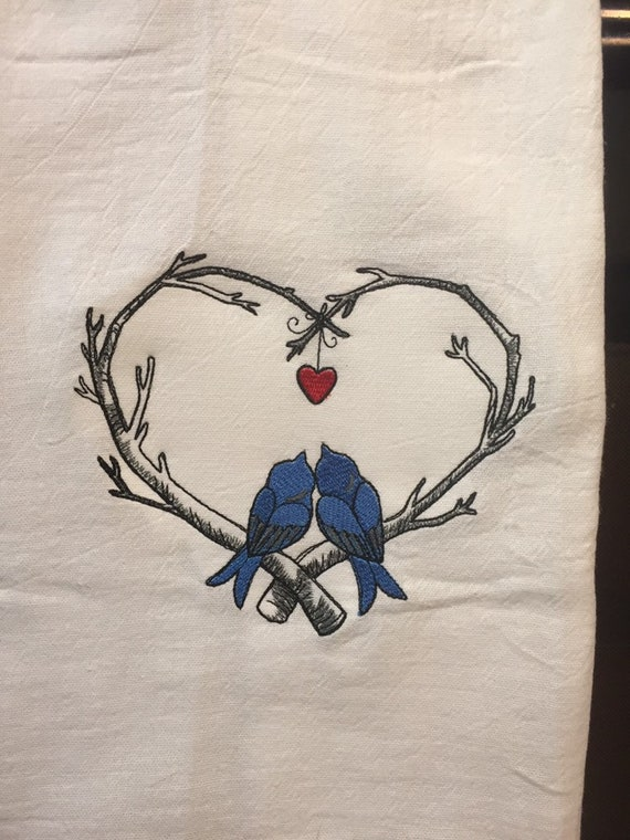 Love Birds Sketch Embroidered Flour Sack Towel Etsy