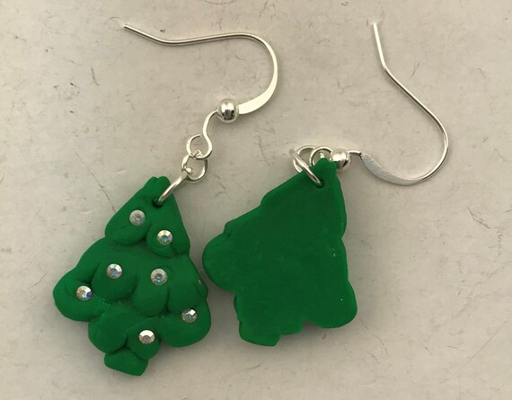 Polymer Clay Christmas Tree.Polymer Clay Christmas Tree Earrings