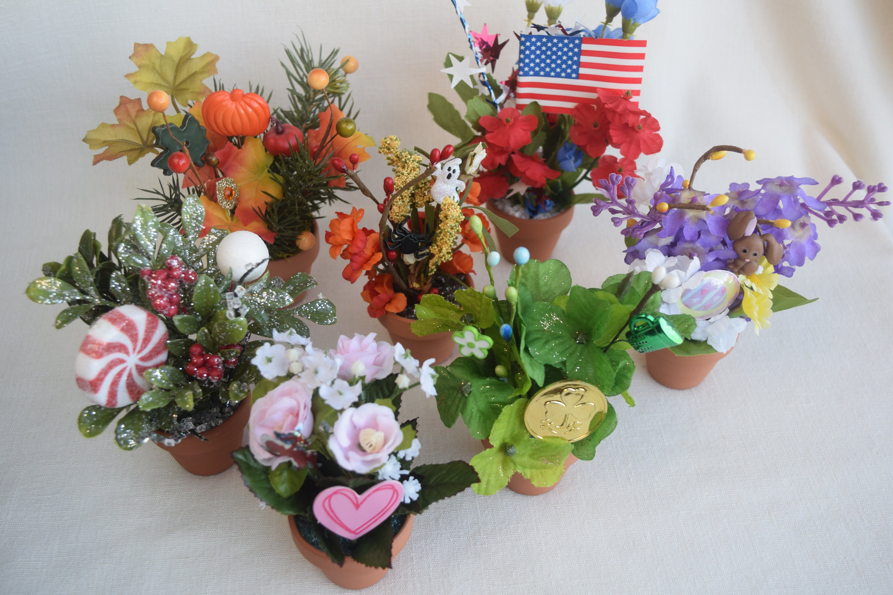 A Set Of 7 Holiday Seasonal Miniature Clay Flower Pots With Etsy