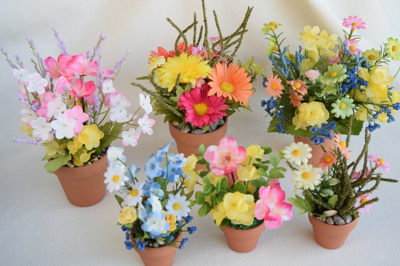 Etsy & Spring Miniature And Small Flower Pots With Miniature And Small Artificial Flowers