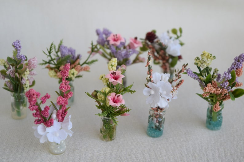 Etsy & Miniature Glass Vases With Miniature Artificial Flowers