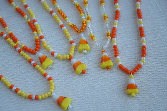 Satin Cord 1 Candy Corn Witch Necklace Adjustable Length Halloween Jewelry
