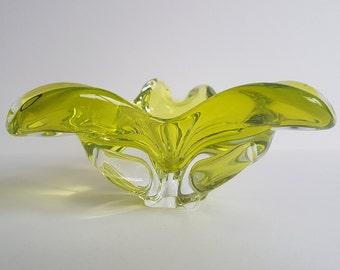 Sklo Chridska Cased Bowl / Ashtray, Probably designed by Joseph Hospodka 1950's in Citrine Yellow. Bohemian post war hand blown glass.