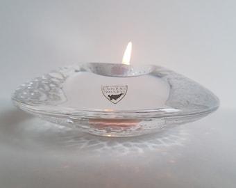 Swedish Orrefores 'Discus' Votive made for 1995 Athletic Championship. Lars Hellsten Design Textured Tea Light Candle Holder. 1990's Vintage