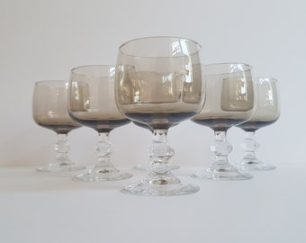 6 Luminarc French Smoked Wine Glasses with Clear Faceted Stems. 5oz to brim, Beautiful condition from the 1970's/80's.