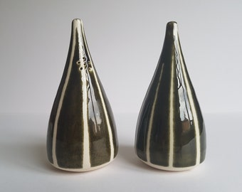 Large Mid Century Modern Salt and Pepper Pots. 1950's / 60's hand glazed pottery, stamped made in England on bungs.