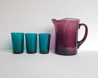 Whitefriars Pinch-top Amethyst Jug, with 3 Hand Blown Glasses in Teal. Mid Century Modern Pitcher Set.