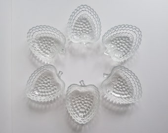 6 Vintage Ice Cream / Fruit Bowls - Strawberry Shaped Textured Glass. Beautiful and rare shape. Pressed Glass from the 60's/70's