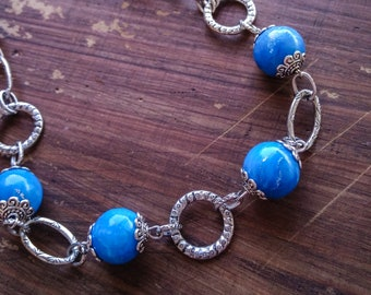Women's necklace with Tibetan silver metal mesh and blue Fimo beads