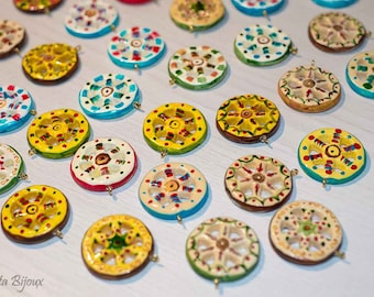 Sicilian hand painted ceramic magnets and pendants