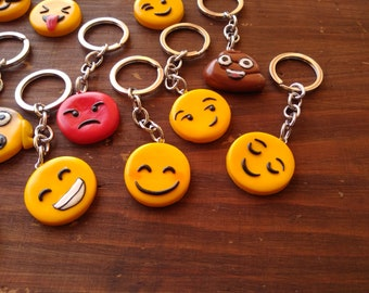 Colourful Fimo key Chain emoticons