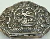 Rare antique 19th Century Ottoman solid silver snuff box.Hand hammered