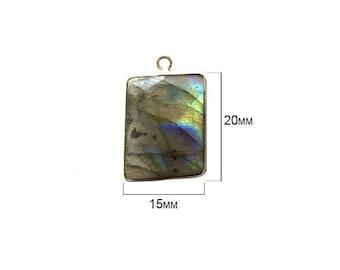 Labradorite - Labradorite Stone - Labradorite Beads - Labradorite Rectangle 15X20 mm Silver Bezel Single - Bezel Rectangle – Bezel Silver