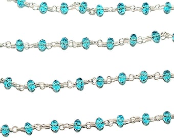 Semi Precious Gemstone Chain Handmade Jewelry Making Chain 24k Gold Plated Over Silver Natural Blue Sapphire Jade 8mm Beads Rosary Chain