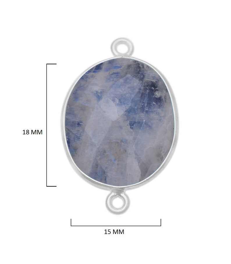 Rainbow Moonstone Oval 925 Sterling Silver Natural Gemstone Bezel Charms Links Connector Pendant Bail DIY Jewelry