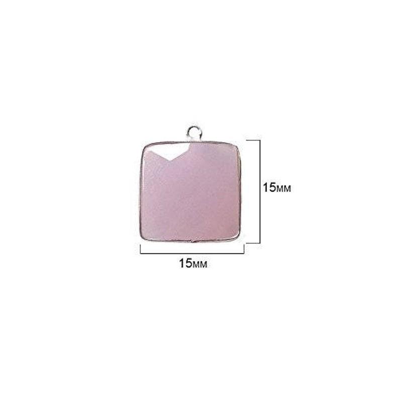 Semi Precious Gemstone Pendant Bezel Gemstone Connectors 925 Sterling Silver Bezel Natural Pink Chalcedony Square 15mm Bezel Beads