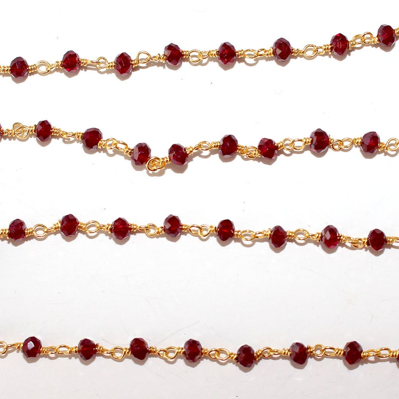Wire Wrapped Silver Chain Garnet Jewelry Making Beaded Chain By Foot For Necklace Garnet Mystic Rosary Chain 3mm 24K Gold Plated