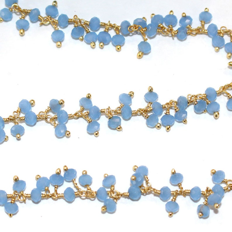 Handmade Jewelry Making Wire Wrapped Beaded Chain By Foot For Necklace 24k Gold Plated Over Silver Blue Chalcedony Cluster Rosary Chain