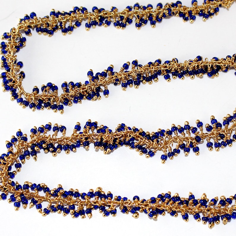 Quartz Hydro Jewelry Making Beaded Chain For Necklace Dark Blue Faceted beads 24K Gold Plated Over Silver Dark Blue Cluster Rosary Chain