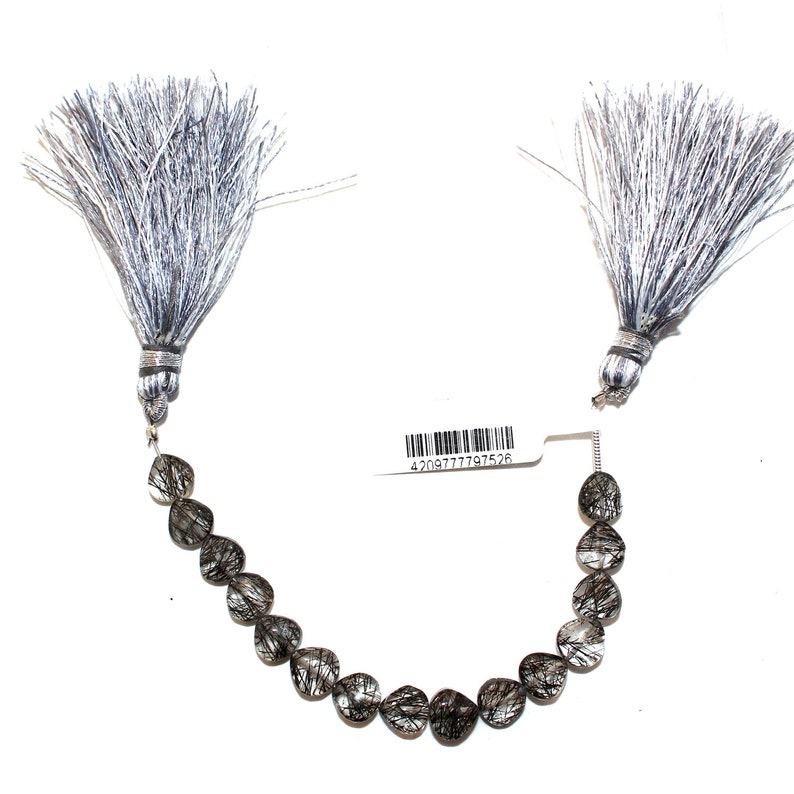 TOURMALATED QUARTZ Heart Natural Bead Strand AAA Quality Semi Precious Gemstone 4 inches Diy Jewelry Making Necklace Earrings Birthstone