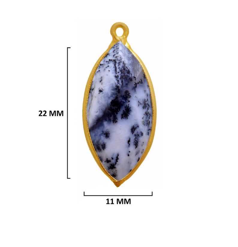 Dendrite Opal Marquise Eye 24K Gold Plated Over 925 Sterling Silver Natural Gemstone Bezel Charms Links Connector Pendant Bail DIY Jewelry