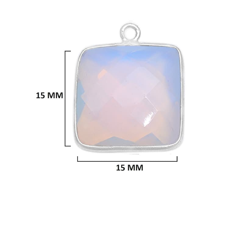 Opalite Square 24K Gold Plated Over 925 Sterling Silver Handmade Bezel Charms Links Connector Pendant Bail DIY Jewelry Making Earring