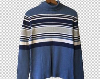 90s Ribbed Striped Turtleneck Sweater // 90s Blue Black White Beige Striped Longsleeve Sweater // Y2k Basics Medium Large