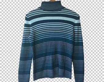 90s Ribbed Striped Turtleneck Sweater // 90s Blue Green Striped Longsleeve Sweater // Y2k Basics Small Medium