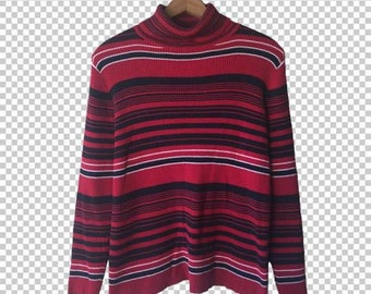 90s Ribbed Striped Turtleneck Sweater // 90s Red Black Striped Long-sleeve Sweater // Y2k Basics Medium Large
