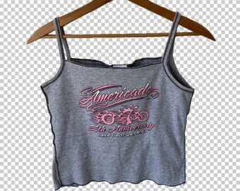 1a74d23f39 90s Biker Babe Crop Top    Y2k Gray   Baby Pink Americade Flames Motorcycle  Graphic Cropped Tank    Women s XS-Small