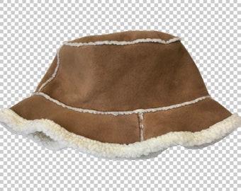 2e06e733ef49d 90s Sherpa Suede Bucket Hat    1990s Brown Faux Suede Winter Hat    Y2K  Bratz Aesthetic Soft Hat