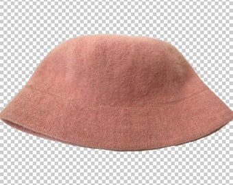 bffcf5c1204 1990s Angora Bucket Hat    Y2K Casual Bucket Hat Pink    90s Baby Winter  Rabbit Hair Hat