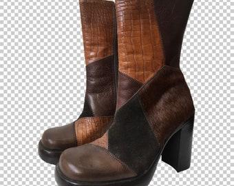 389e6033b9c Sz 7.5 Steve Madden Animal Print 1990s Platform Leather Bratz Boots    90s  Chunky 4