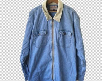 Zip Up Denim Jacket Etsy